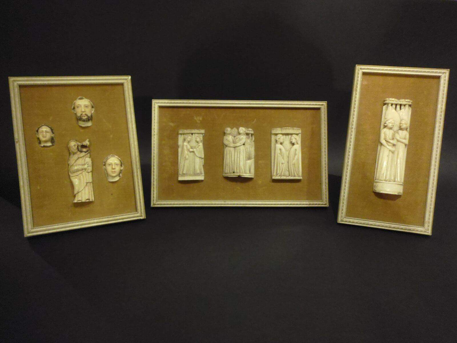 Medieval carved bone reliefs